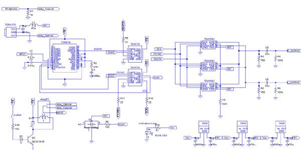 TDA1543 + CS8414 nosDAC 3パラ回路図