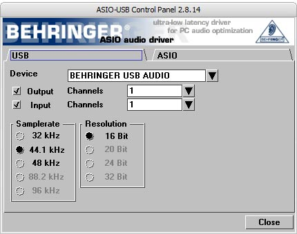 UCA202 ASIO Setting Screen image1