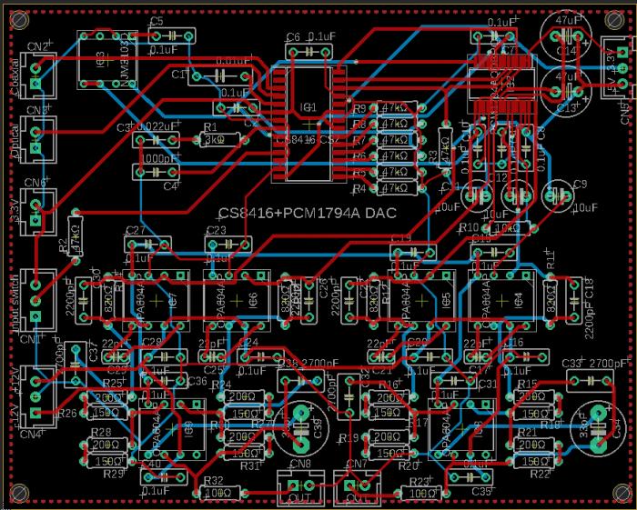 PCM1794A DAC プリント基板
